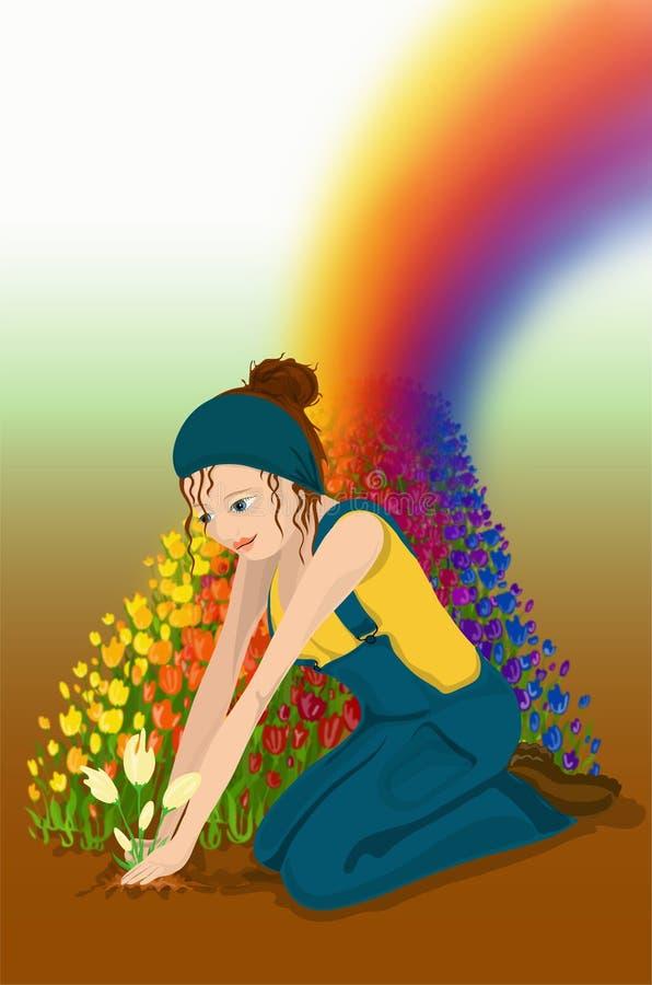 Regenbogen-Garten stock abbildung