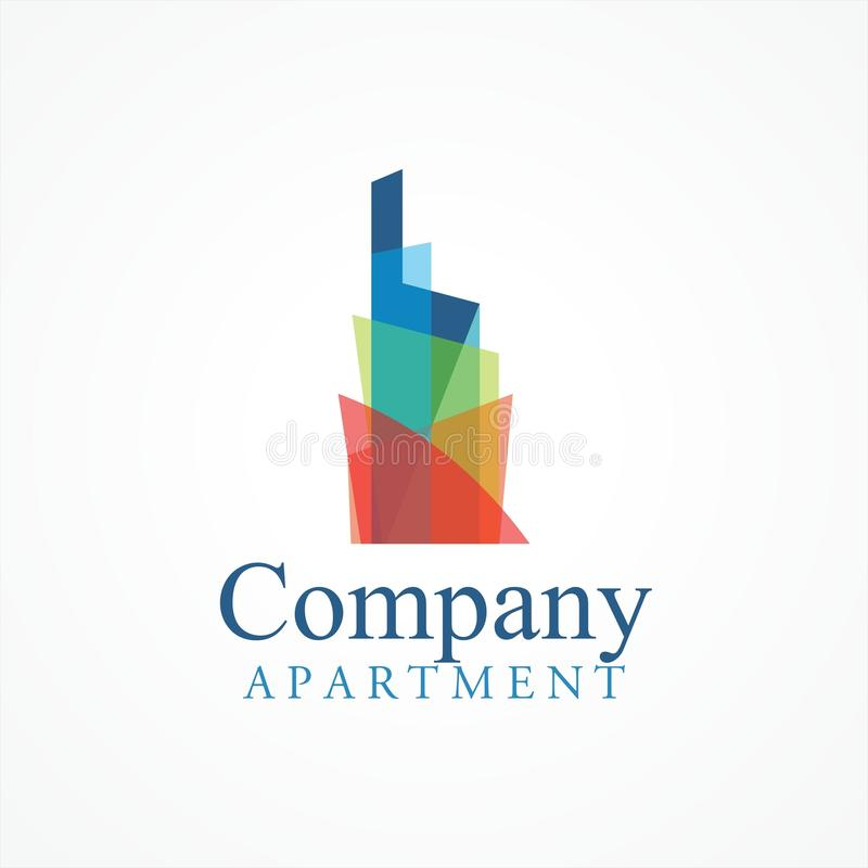 Regenbogen-Gebäudelogo lizenzfreie abbildung
