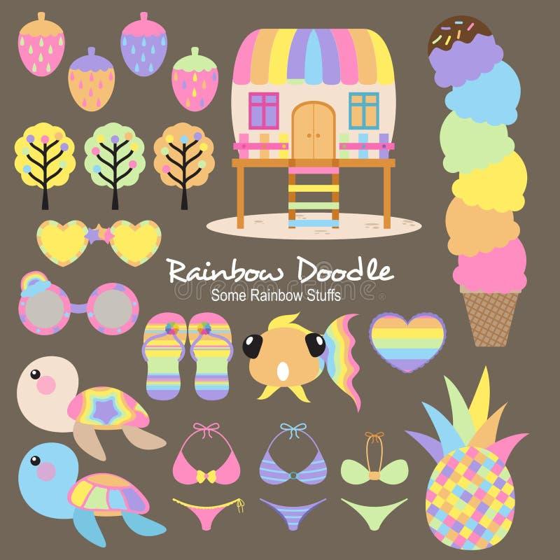 Regenbogen-Gekritzel-Sammlung lizenzfreie abbildung