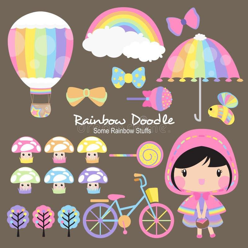 Regenbogen-Gekritzel-Sammlung stock abbildung