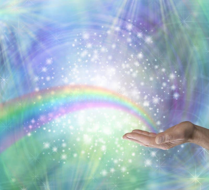Regenbogen heilende Energie schicken stock abbildung