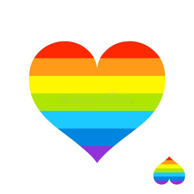 Regenbogen-Herz mit Lgbt-Farbstreifen Symbol der homosexuellen Liebe, homosexuelles Zeichen lokalisierte Vektorillustration lizenzfreies stockfoto