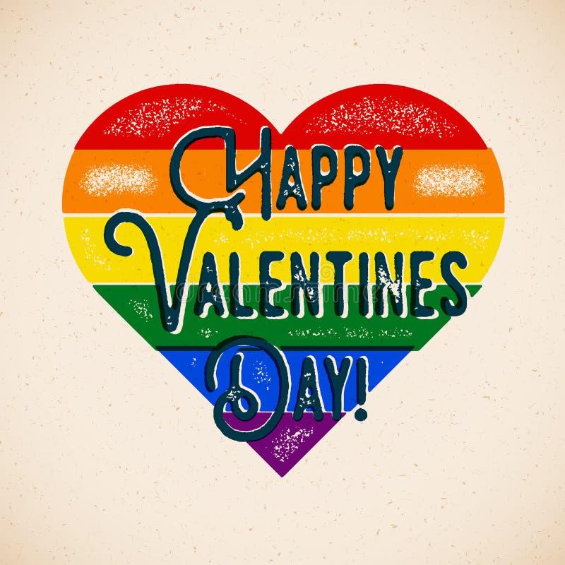Regenbogen-homosexuelle themenorientierte Valentinsgruß-Tageskarte vektor abbildung
