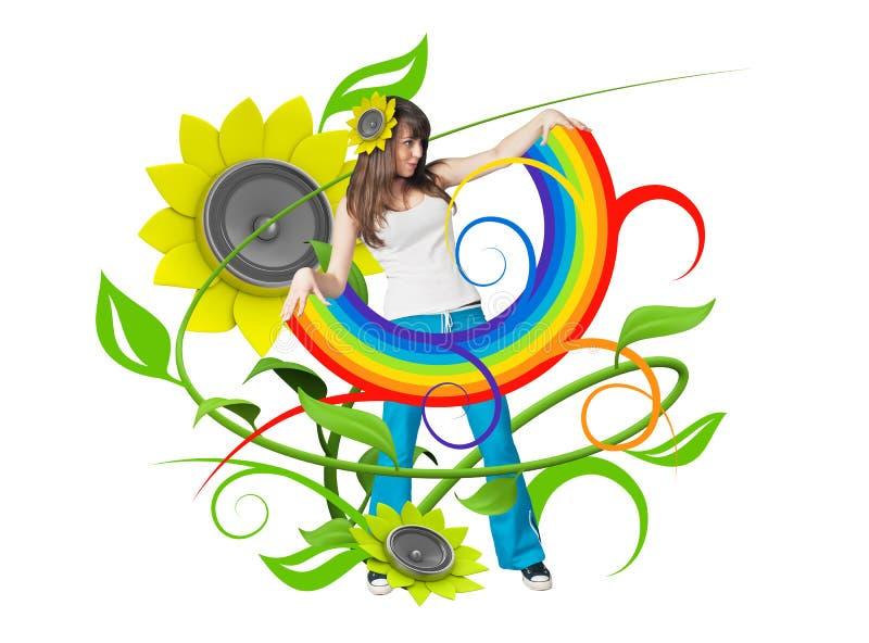 Regenbogen in ihren Armen lizenzfreie abbildung