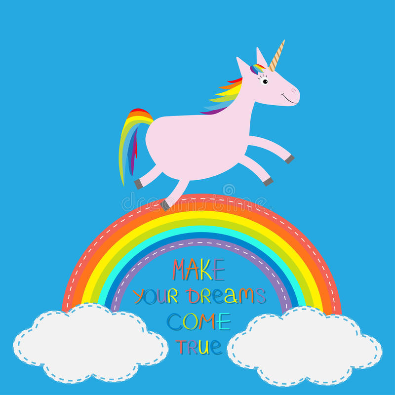 Regenbogen im Himmel Nettes Einhorn Lassen Sie Ihre Träume in Erfüllung gehen stock abbildung