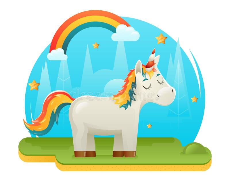 Regenbogen-Konzept- des Entwurfesschablone Forest Glade Background Vector nette Karikatur-Unicorn Fantasy Animal Sweet Dreams mag stock abbildung