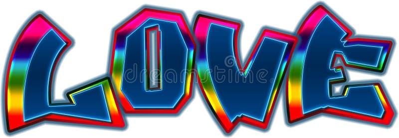 Regenbogen-Liebes-Graffiti-Tag lizenzfreies stockbild