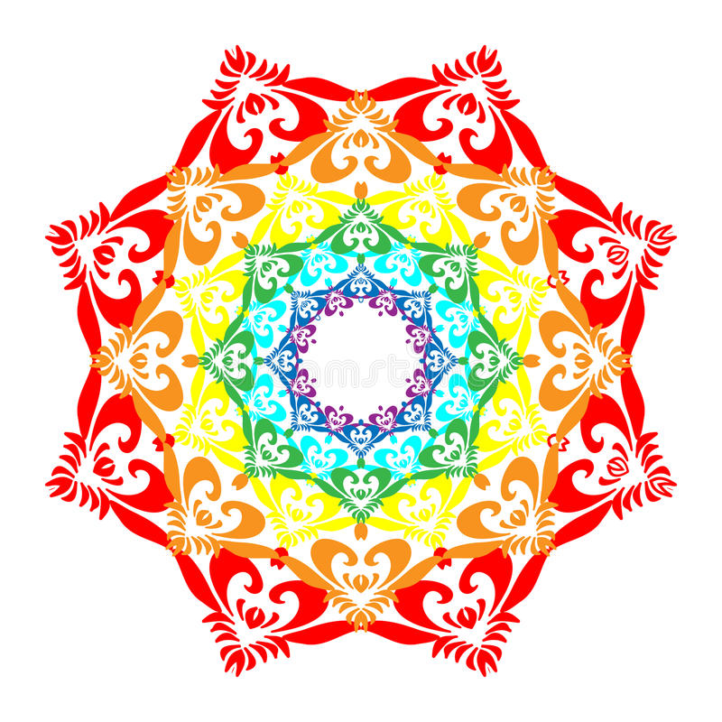 Regenbogen Mandala Isolated auf Weiß Orientalisches dekoratives Element vektor abbildung