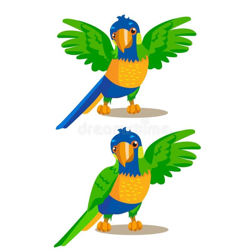 Regenbogen-Papagei, der etwas mit seinem Flügel zeigt oder zeigt Auch im corel abgehobenen Betrag lizenzfreie abbildung