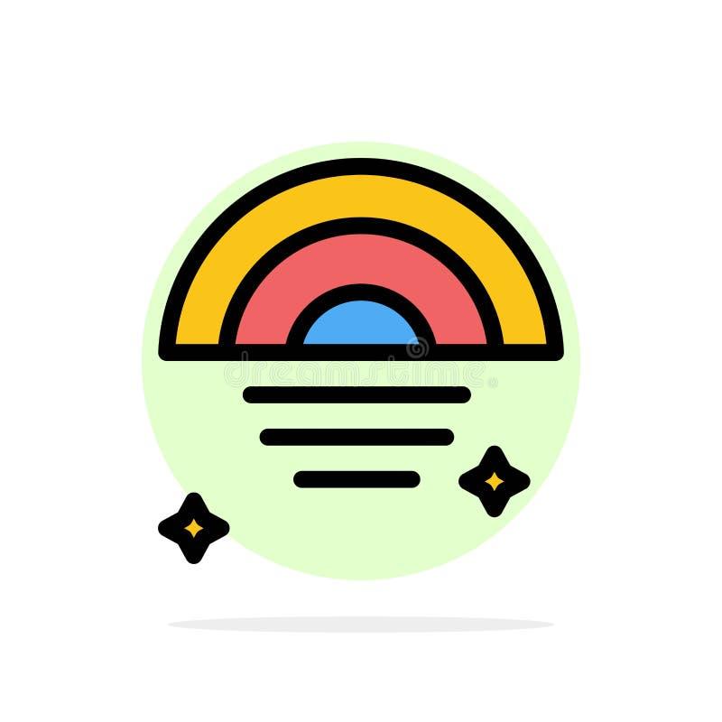 Regenbogen, regnerisch, Himmel, flache Ikone Farbe Wetter-des abstrakten Kreis-Hintergrundes vektor abbildung