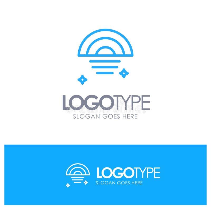 Regenbogen, regnerisch, Himmel, Wetter-blauer Entwurf Logo Place für Tagline lizenzfreie abbildung