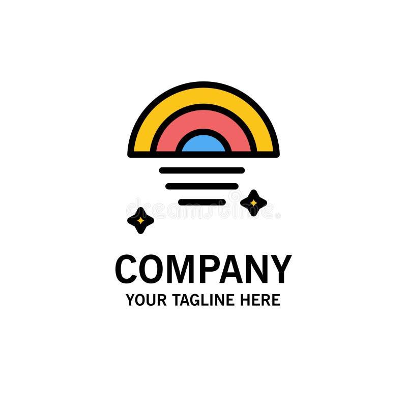 Regenbogen, regnerisch, Himmel, Wetter-Geschäft Logo Template flache Farbe lizenzfreie abbildung