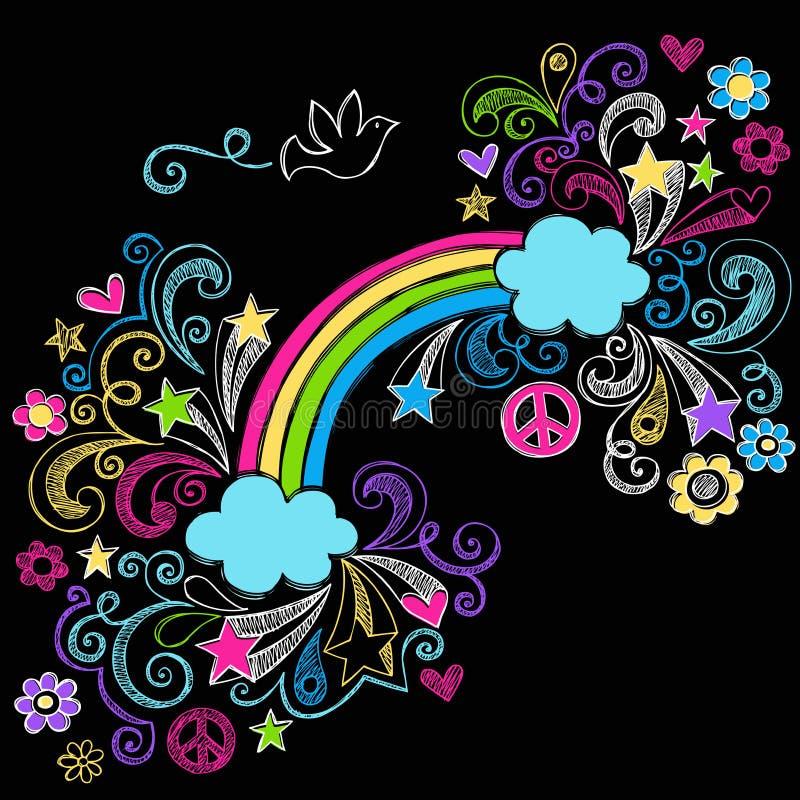 Regenbogen-und Tauben-flüchtiger Gekritzel-Vektor stock abbildung