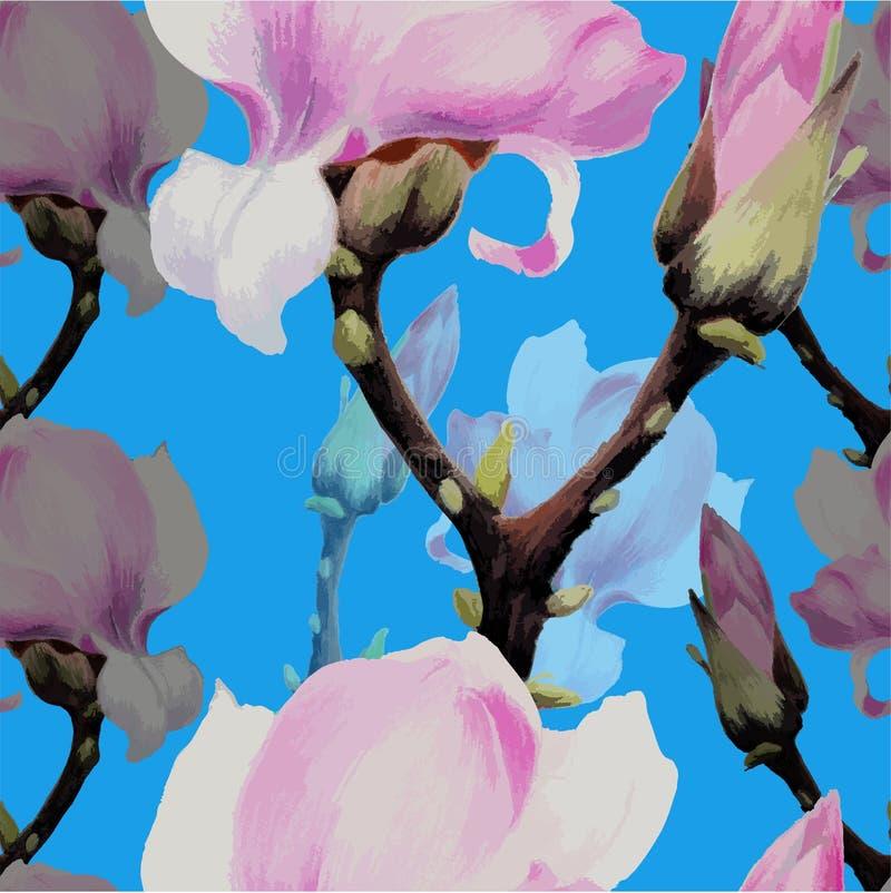 Regenbogen und Wolke auf dem blauen Himmel Magnolienblumen und -knospen Nahtlose Muster extrahieren Tapete mit Blumenmotiven Tulp stock abbildung