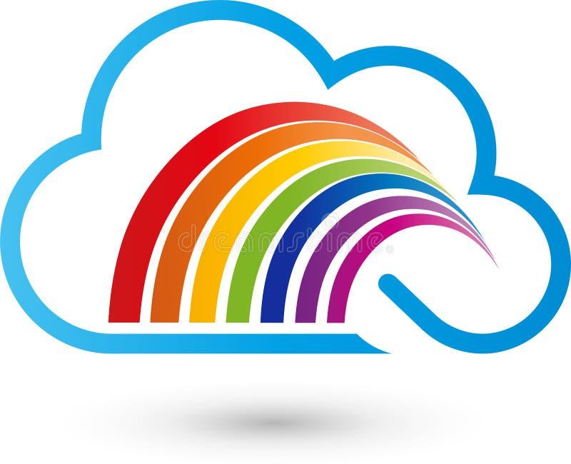 Regenbogen und Wolke, Drucken und Malerlogo stock abbildung