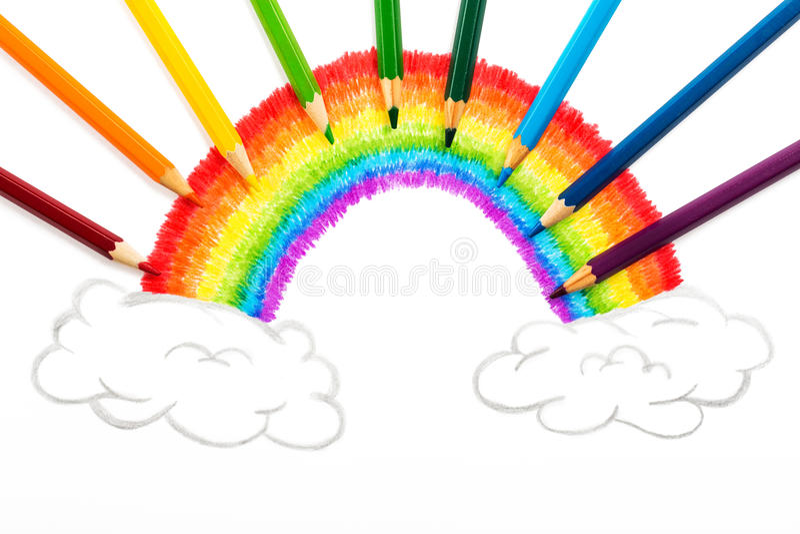 Regenbogen und Wolken, die, abstrakter Hintergrund von den Farbbleistiften zeichnen lizenzfreie abbildung