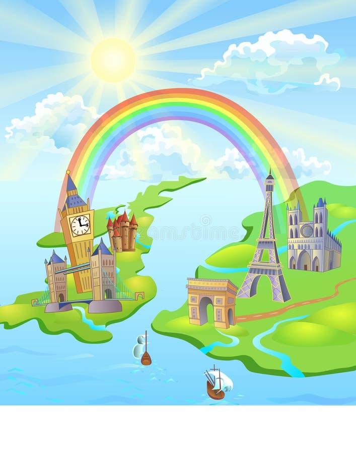 Regenbogen zwischen Paris und London vektor abbildung