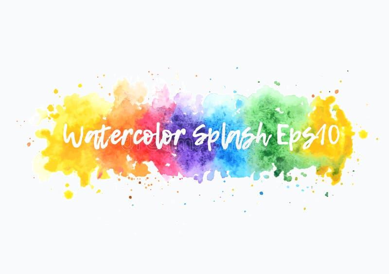 Regenbogenaquarell-Spritzenhintergrund lokalisierte Vektorwäschestelle auf weißem Hintergrund lizenzfreie abbildung