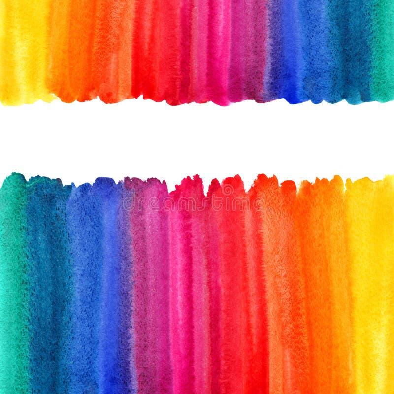 Regenbogenaquarellhintergrund, Grenzen, Rahmen vektor abbildung