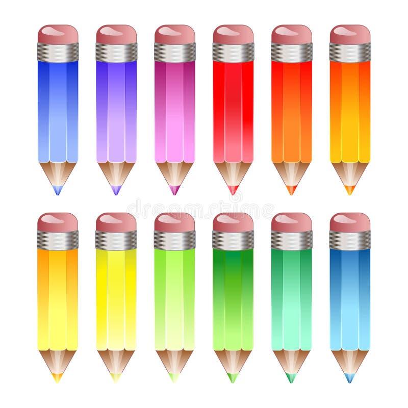 Regenbogenbleistifte stock abbildung