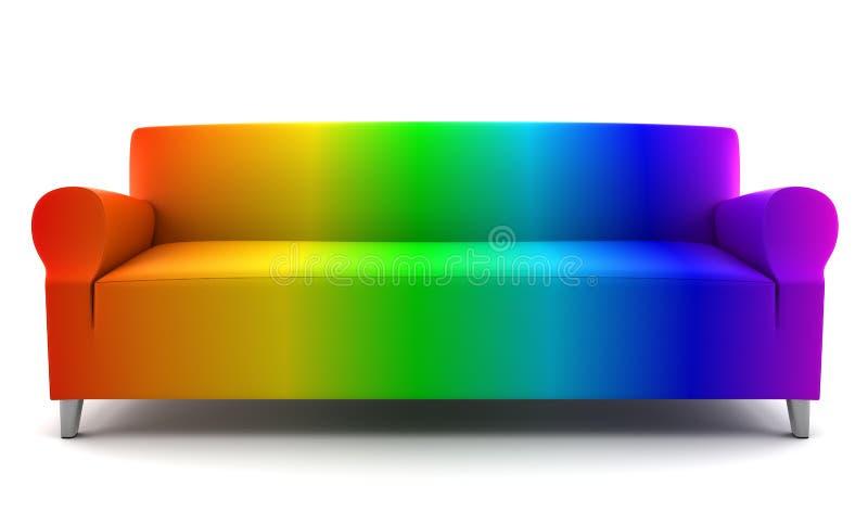 Regenbogenfarbencouch getrennt auf Weiß lizenzfreie abbildung