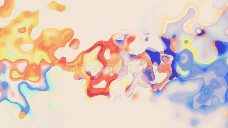 Regenbogenfarbfarbe Digital pl?tschern turbulente das Mischen auf neuer einzigartiger Qualit?t des wei?en abstrakten Illustration lizenzfreie abbildung