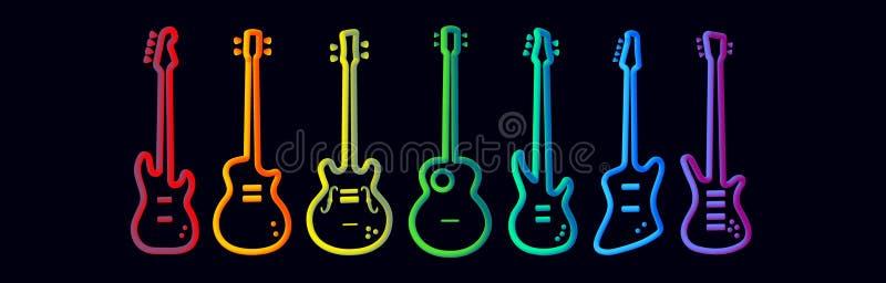 Regenbogenfarbmusikinstrumentneon tubed Konzept- des Entwurfesrockbandleistungs-E-Gitarren-Satz des Schattenbildes abstrakten vektor abbildung