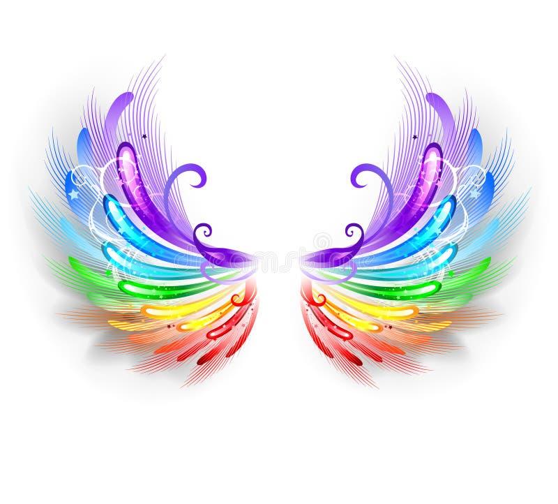 Regenbogenflügel auf einem weißen Hintergrund stock abbildung
