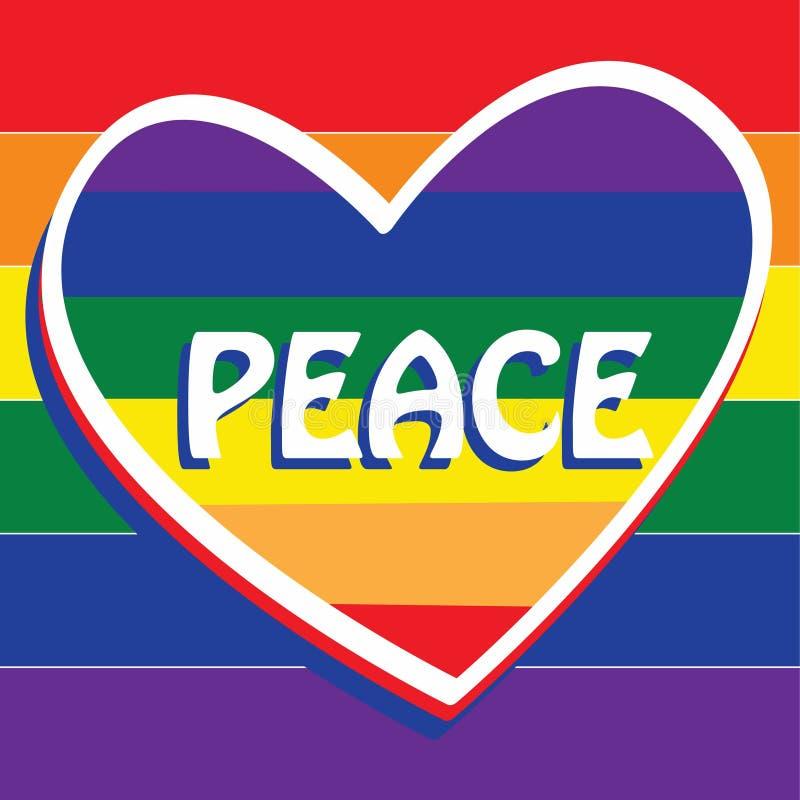 Regenbogenflagge für Frieden mit einem Herzen in der Mitte stock abbildung