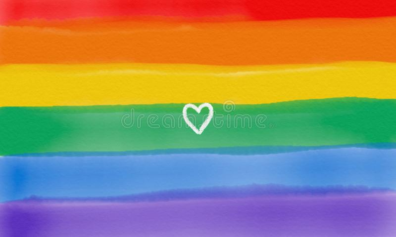 Regenbogenflagge, Hand, die Herzsymbol zeigt stockfotos