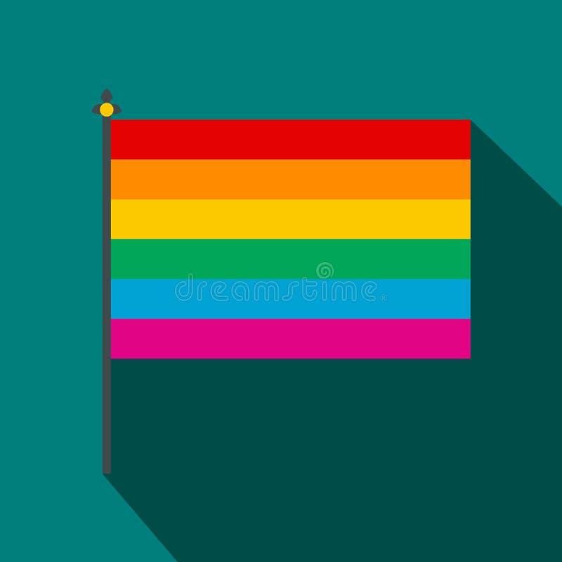 Regenbogenflaggenikone, flache Art vektor abbildung