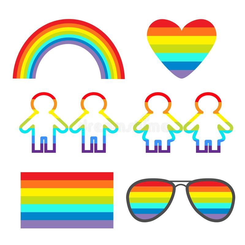 Regenbogengase, Herz, Sonnenbrille, Flagge, Mädchenjungenpiktogramm-Ikonensatz Homosexuelle Ehe LGBT-Stolz-Zeichensymbol Flaches  vektor abbildung