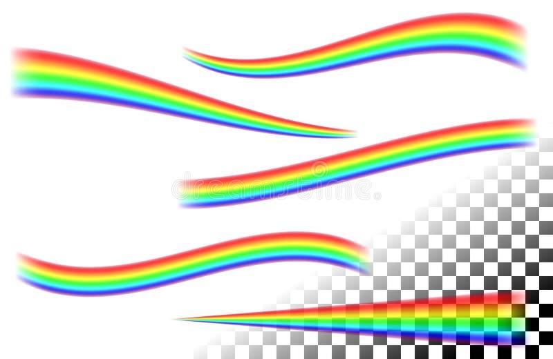 Regenbogengekrümmte linien auf weißem tansparent stock abbildung