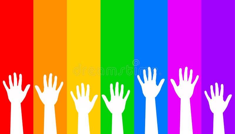 Regenbogenhände stock abbildung