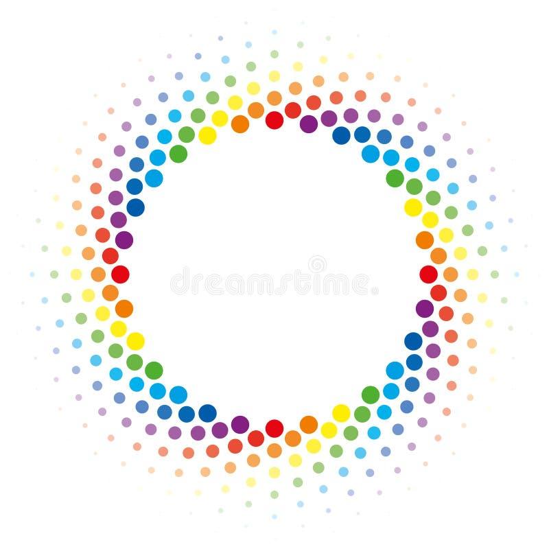 Regenbogenhalbtonstrudelkreisrahmen-Vektorgestaltungselement lizenzfreie abbildung