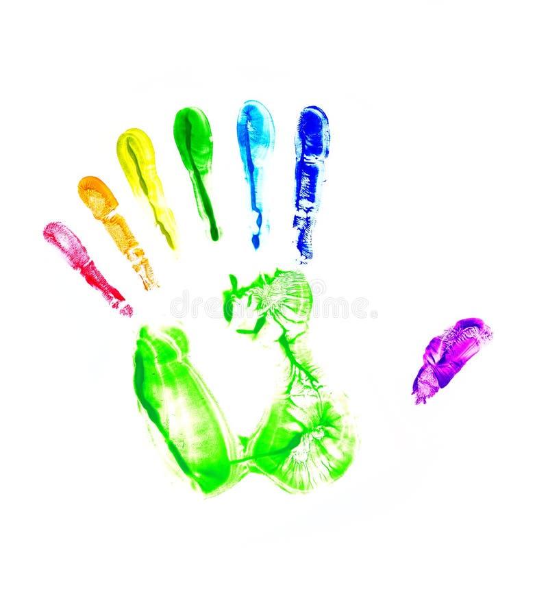 Regenbogenhanddruck. Sieben Finger lizenzfreie stockbilder