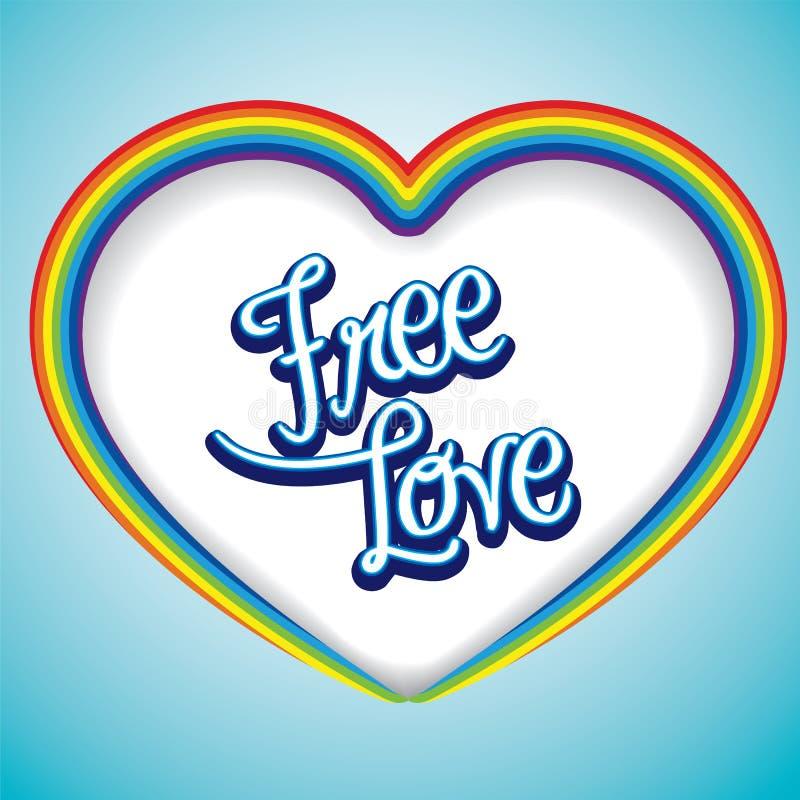 Regenbogenherzrahmen mit Mitteilung der freien Liebe stock abbildung