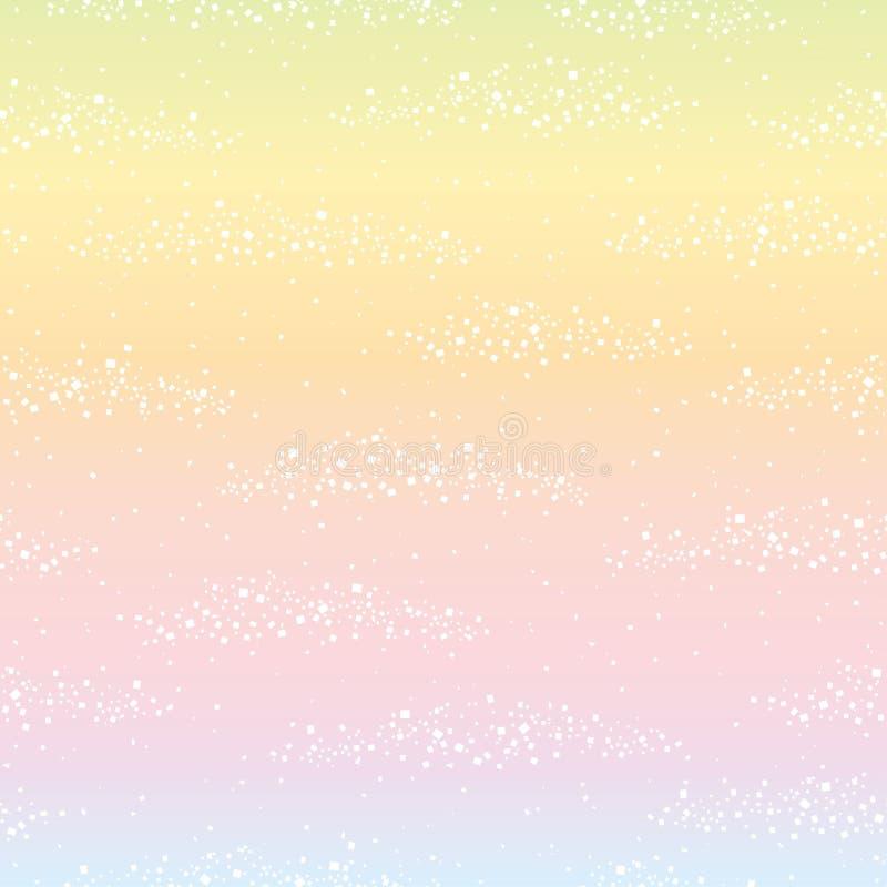 Regenbogenhintergrund mit weißem Blatt stock abbildung