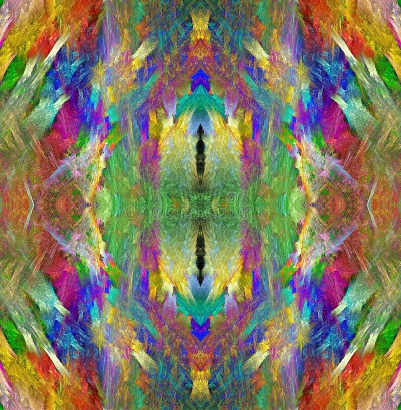 Regenbogenkristallbeschaffenheit Heller mehrfarbiger Hintergrund Fractalabstraktion Symmetrisches nahtloses Muster lizenzfreie abbildung