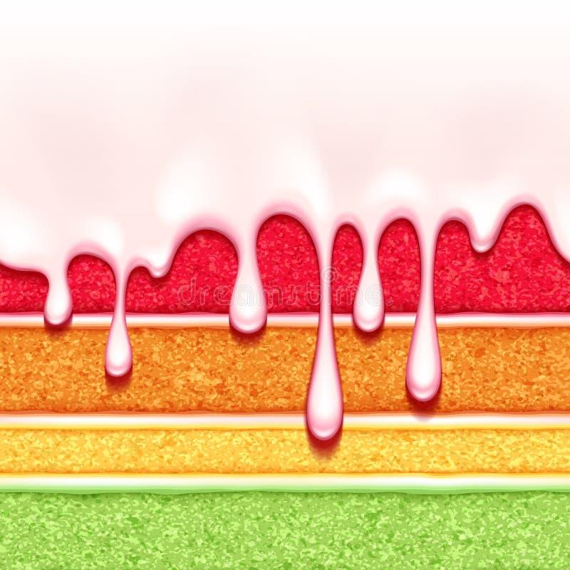 Regenbogenschwammkuchenhintergrund Bunte nahtlose Beschaffenheit stock abbildung