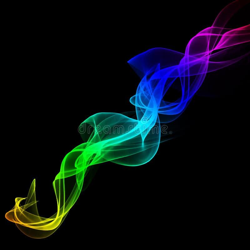 Regenbogenzusammenfassung bewegt auf einen schwarzen Hintergrund, buntes abstracti wellenartig lizenzfreie abbildung