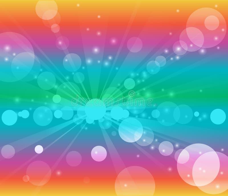 Regenboog achtergrond witte bellen of bokeh lichten royalty-vrije illustratie