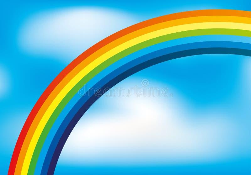 Regenboog in de blauwe hemel vector illustratie