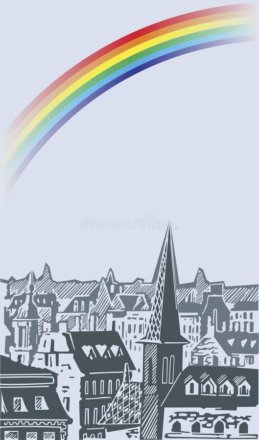 Regenboog in de stad stock illustratie