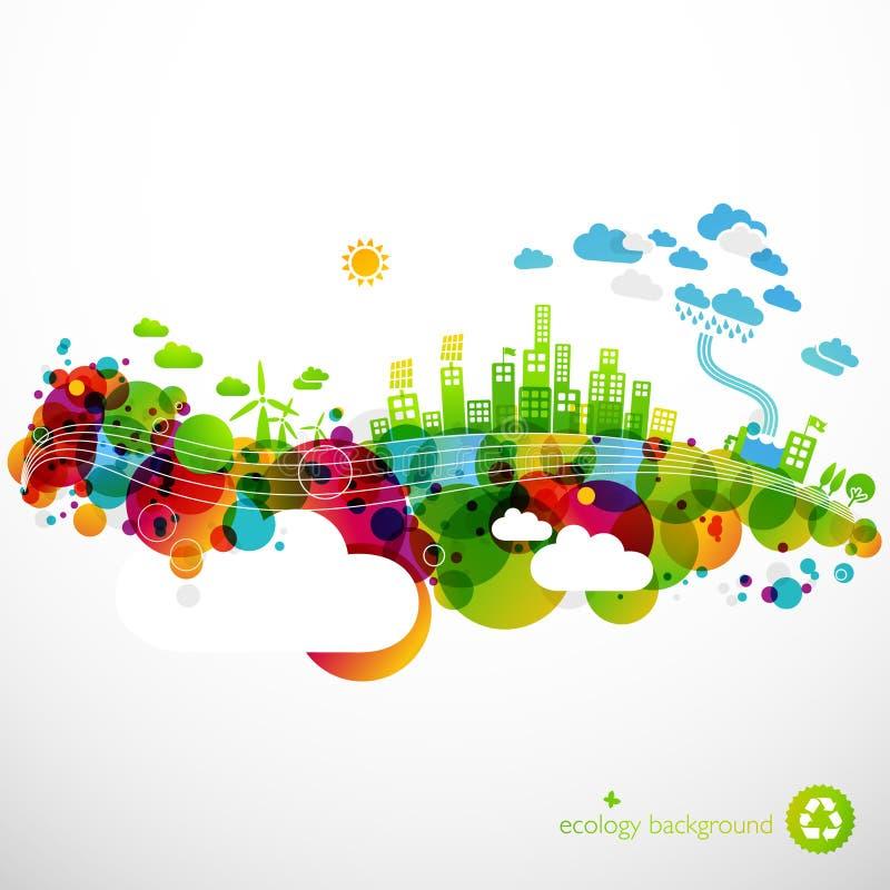 Regenboog ecotown stock illustratie