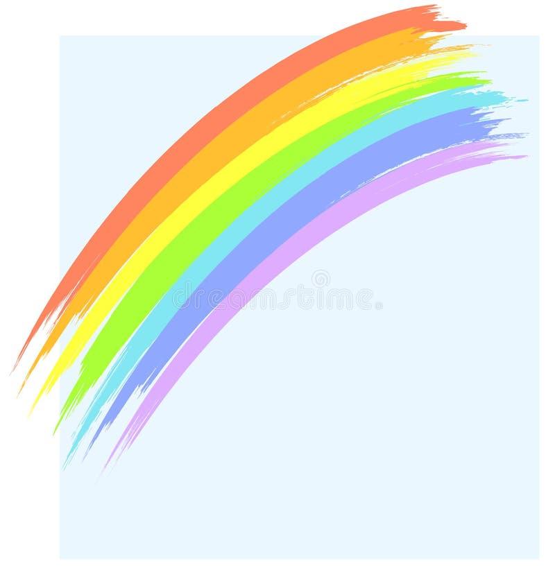 Regenboog en blauwe hemel vector illustratie