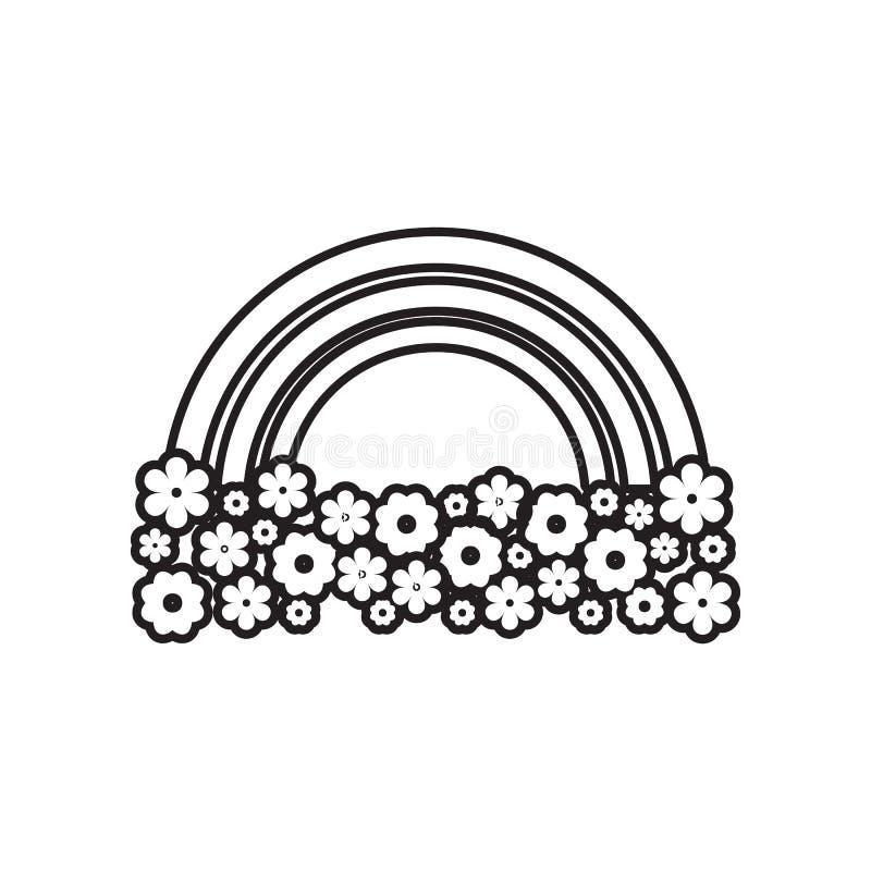 regenboog en bloemenpictogram Element van Landschap voor mobiel concept en webtoepassingenpictogram Overzicht, dun lijnpictogram  stock illustratie