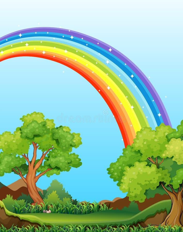 Regenboog en gebied vector illustratie