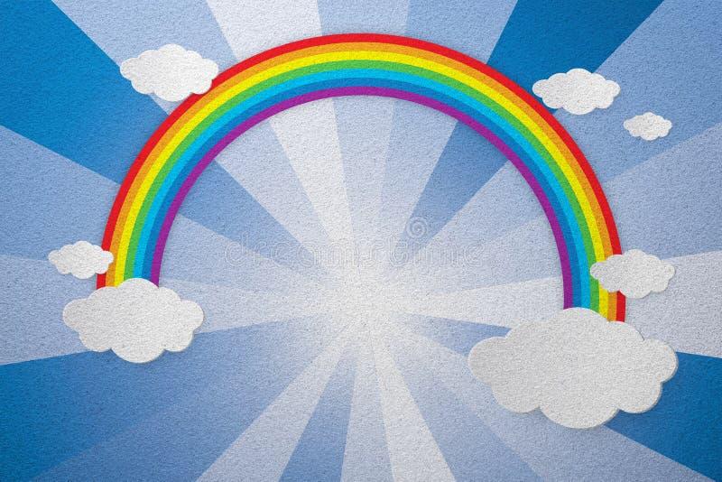 Regenboog en hemel berijpte glastextuur als achtergrond vector illustratie
