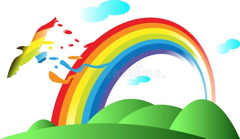 Regenboog en vogel vector illustratie